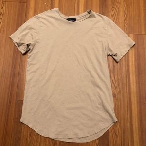 PACSUN SCOOP BOTTOM T SHIRT TAN LARGE